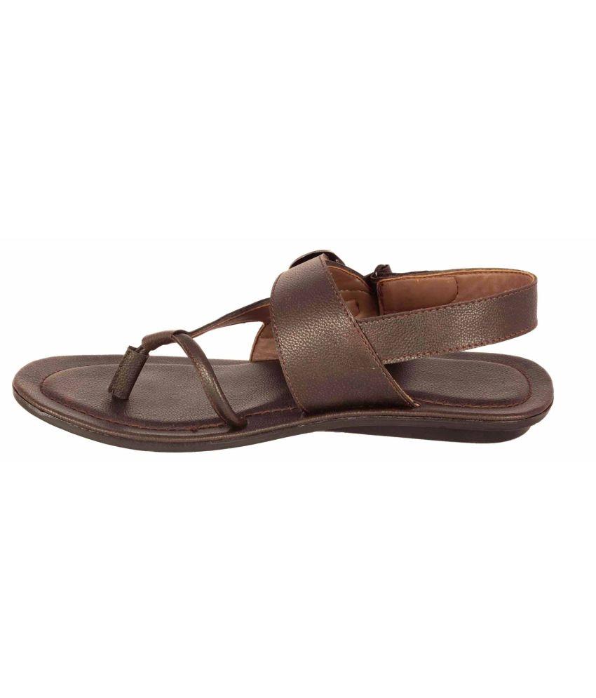 5de1cb5c2f891 4fox Brown Synthetic Leather Men Sandal Price in India- Buy 4fox ...