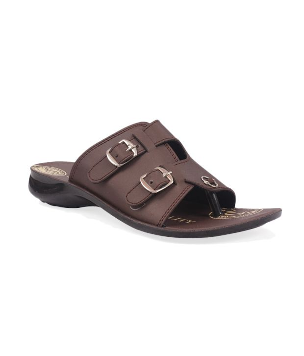 Aalishan Brown Synthetic Flat Slippers