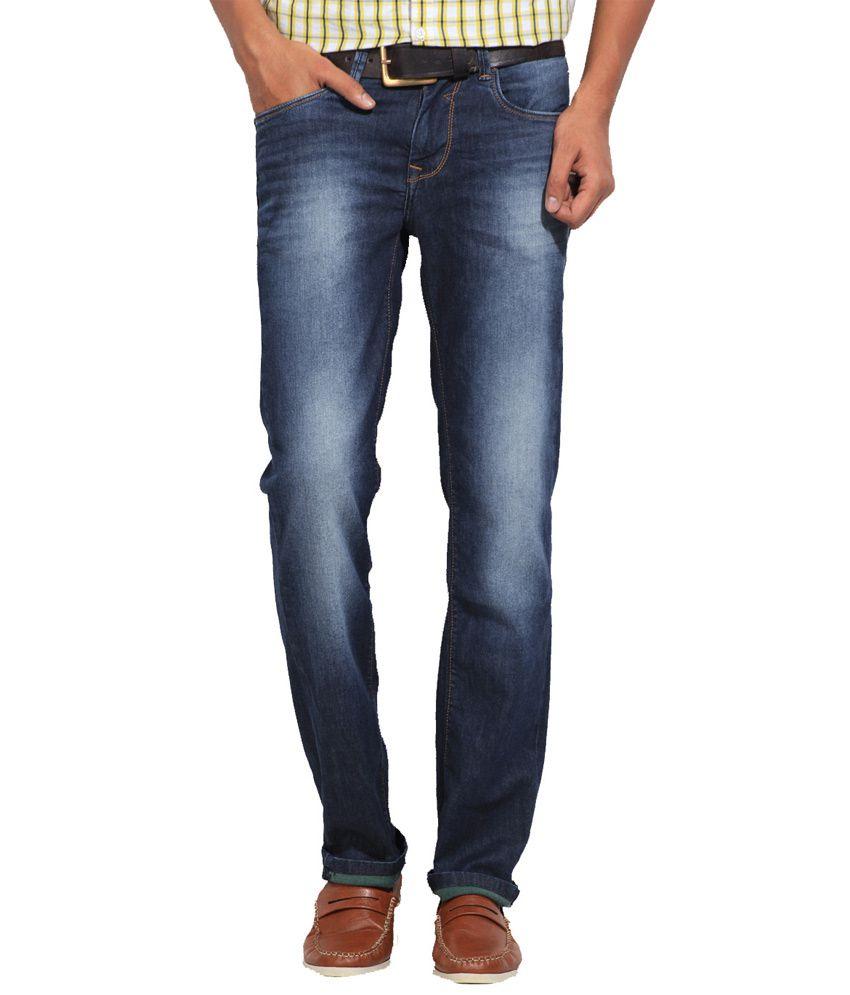 Killer Blue Cotton Blend Slim Fit Faded Men Jeans