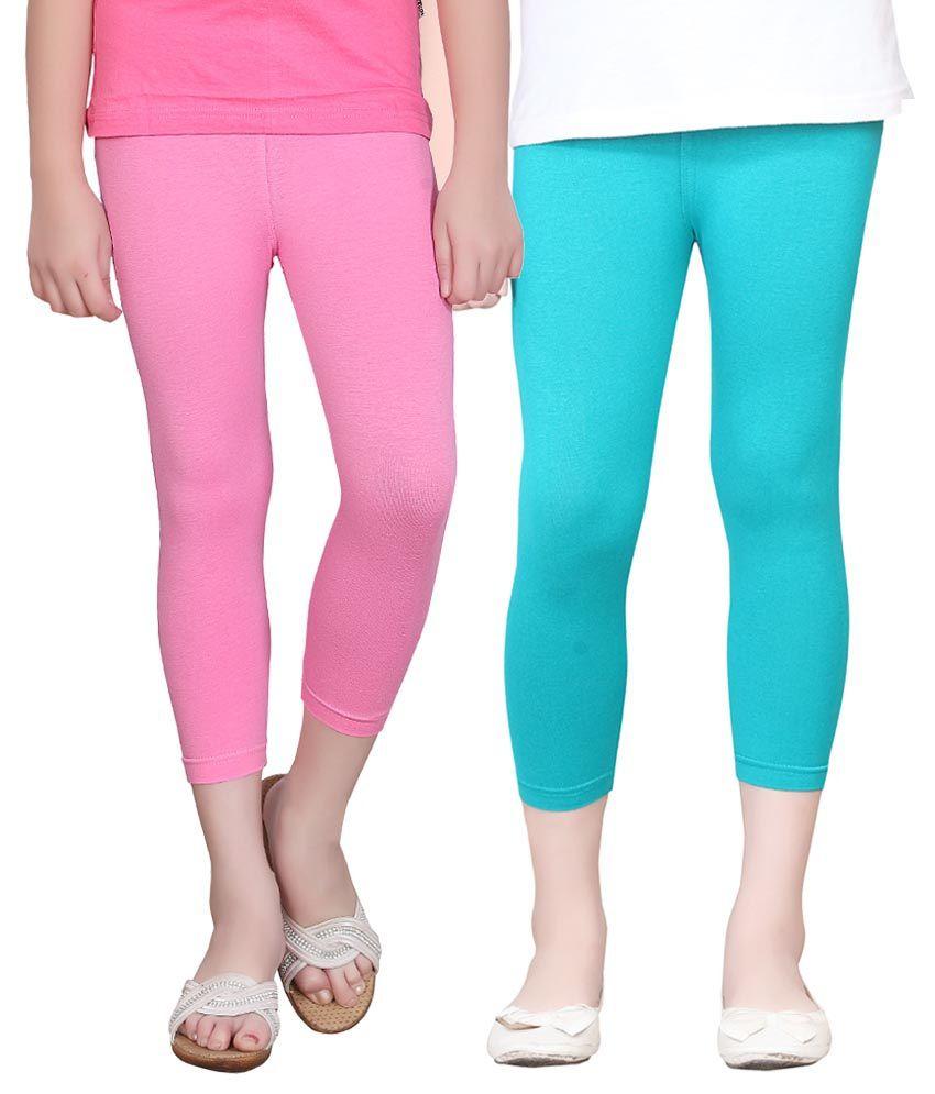 Sini Mini Cotton Elastic Capris For Girls - Set Of 2