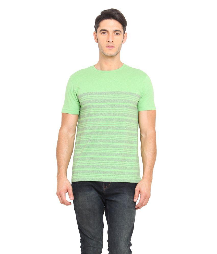 Smokestack Green Cotton Round Neck Half Sleeves Stripers T-Shirt