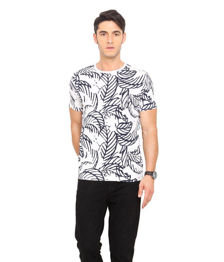 Smokestack White Cotton Round Neck Half Sleeves Printed T-Shirt