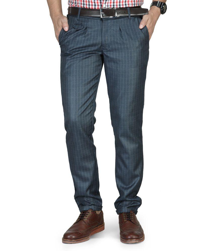 Clothin India Blue Cotton Blend Trouser