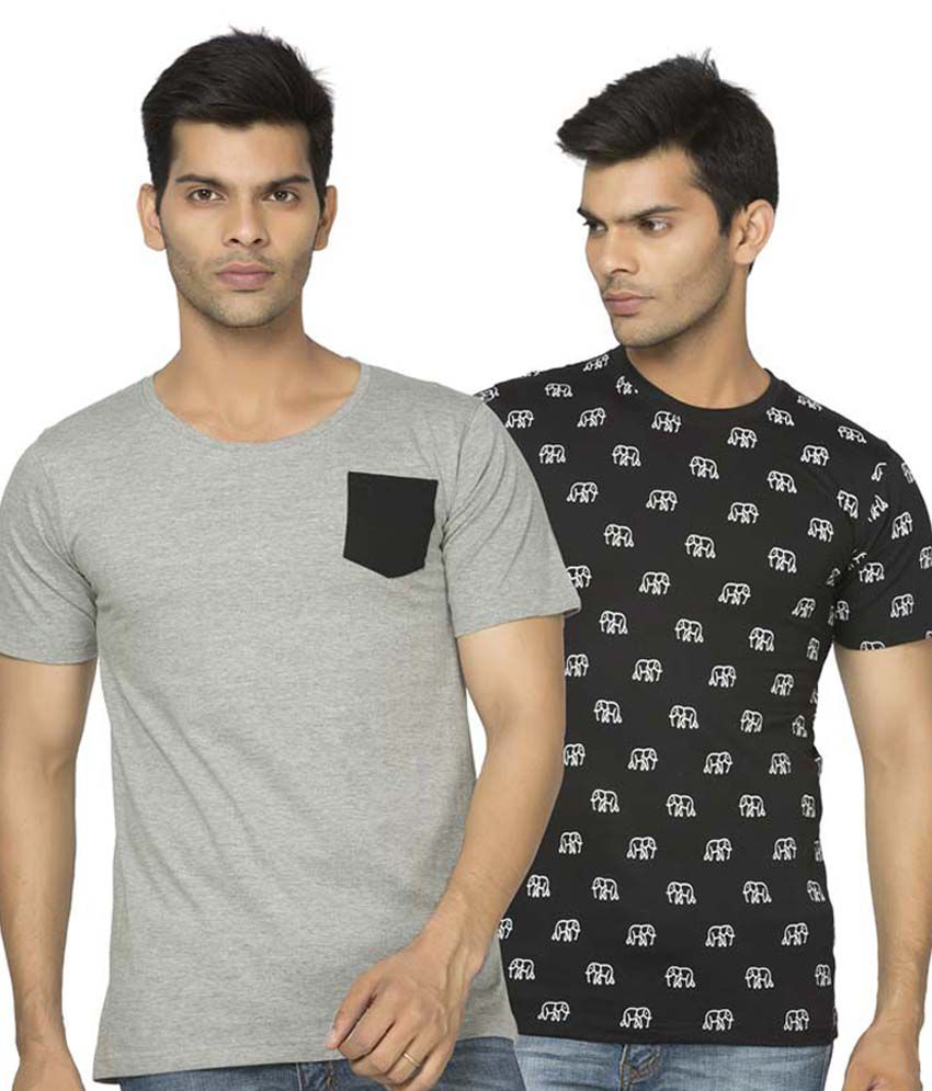 Alan Jones Black Grey Printed Cotton Tshirt- Pack Of 2