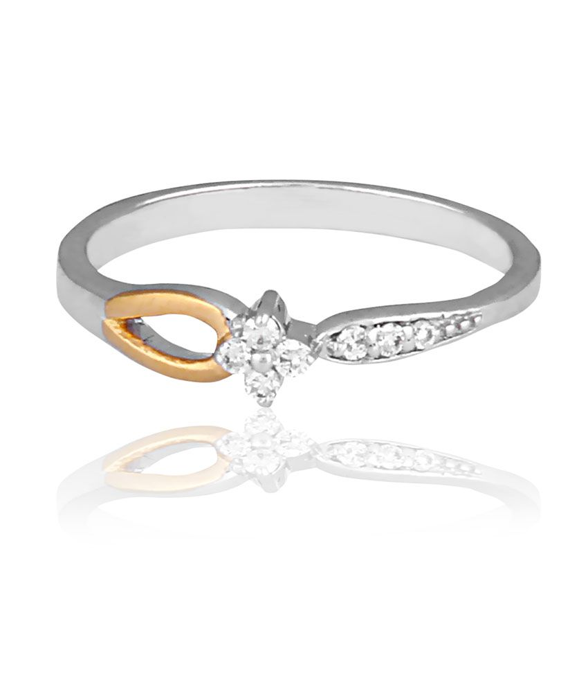 Arham Jewels Silver Round Diamond Wedding & Engagement Ring