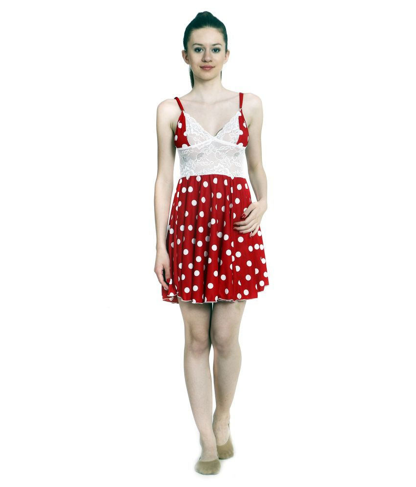 c77fc1ccf05 Buy Ellryza Red Short Babydoll Nightwear Dress Online at Best Prices in  India - Snapdeal