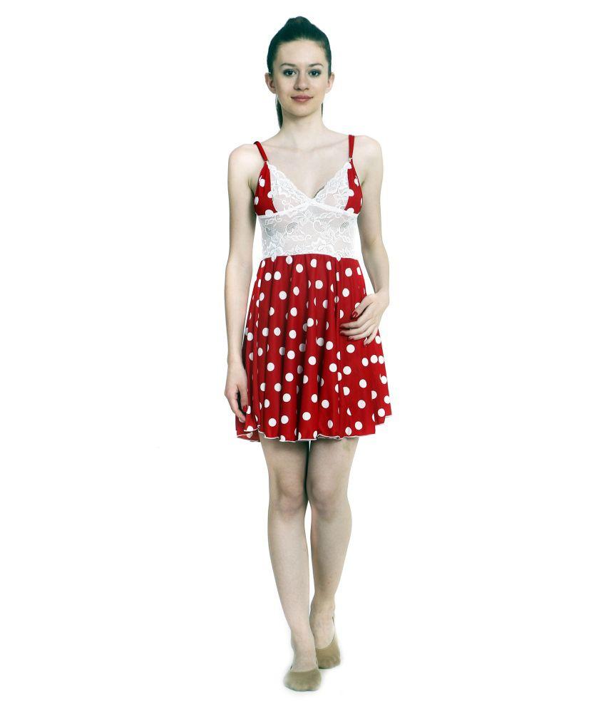 Buy Ellryza Red Short Babydoll Nightwear Dress Online At