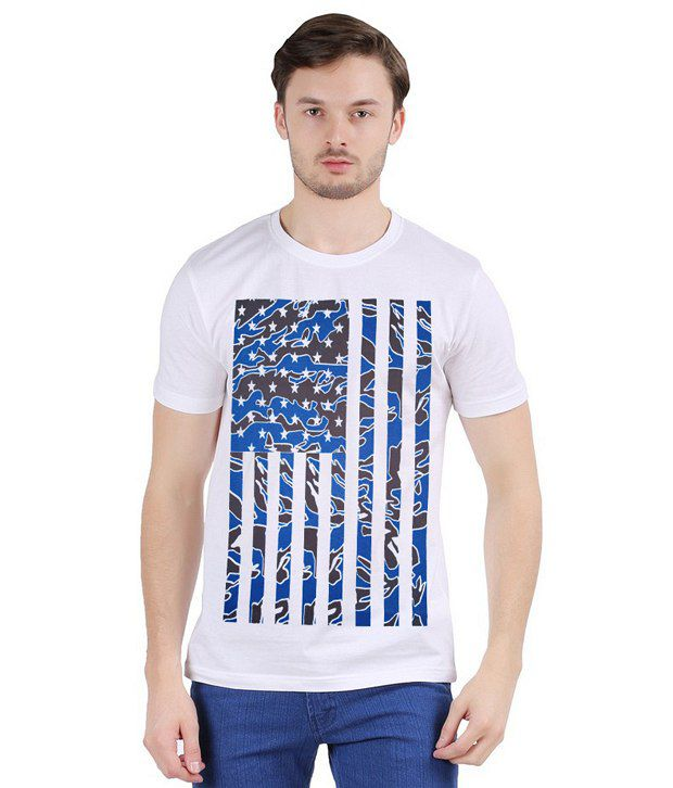 Flame Round Neck White Printed T-Shirt