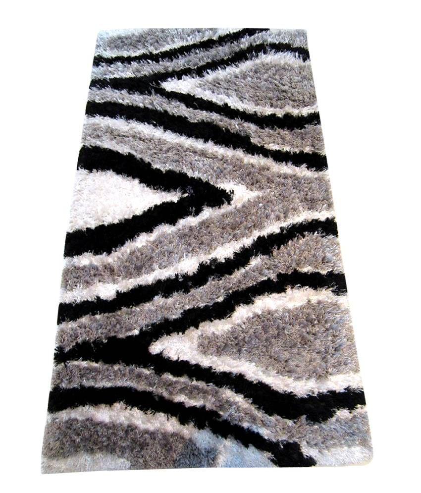 Galicha Black Silver Shaggy Carpet 4x6 Ft Buy Galicha Black