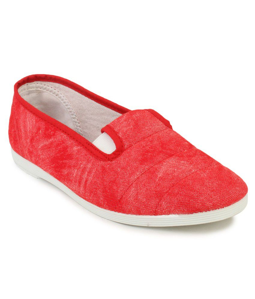 Scentra Red Flat Almond Toe Rubber Casual Shoes for Women