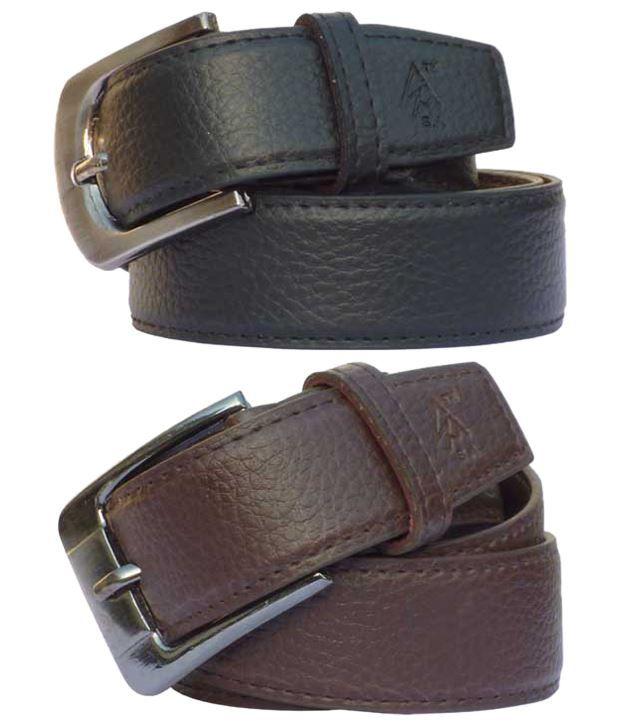 Sondagar Arts Attractive Combo Of 2 Brown & Black Non Leather Belts