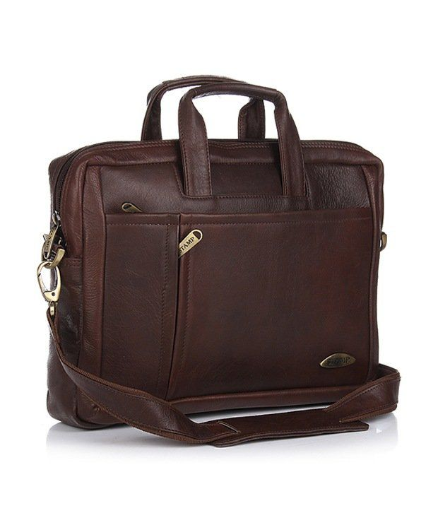 Stamp Black Leather Splendid Laptop Bag
