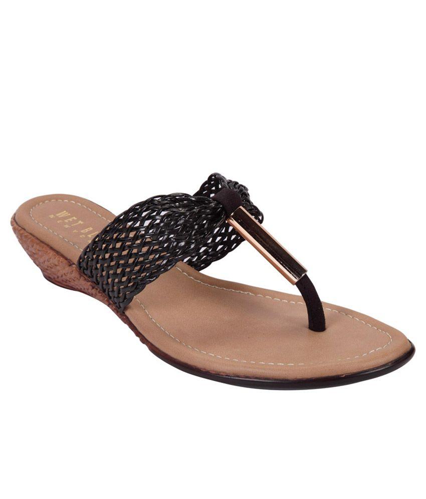 Wet Blue Black Wedge Heeled Sandals
