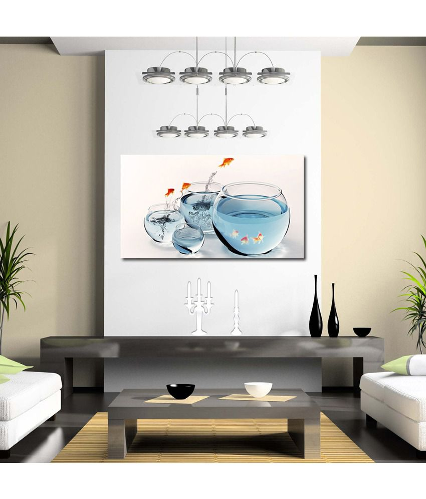 999Store Fish In The Glass Pot Printed Modern Wall Art Painting - Large Size