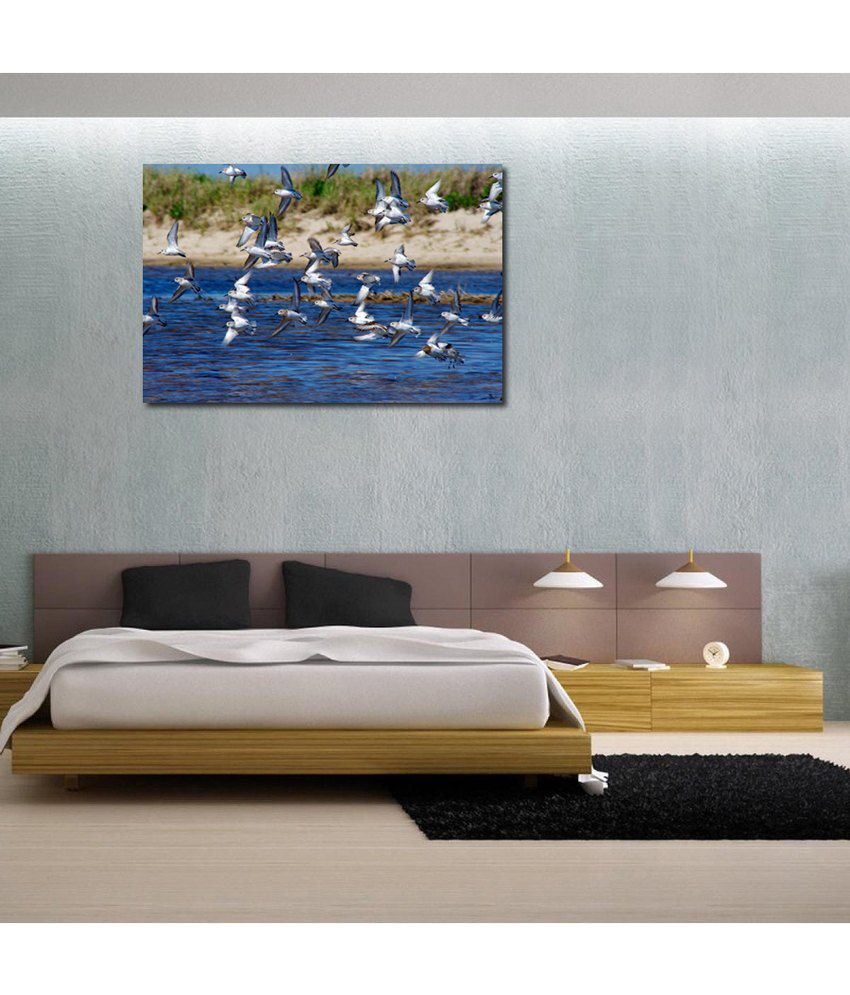 999Store Flying Birds On River Printed Modern Wall Art Painting - Large Size