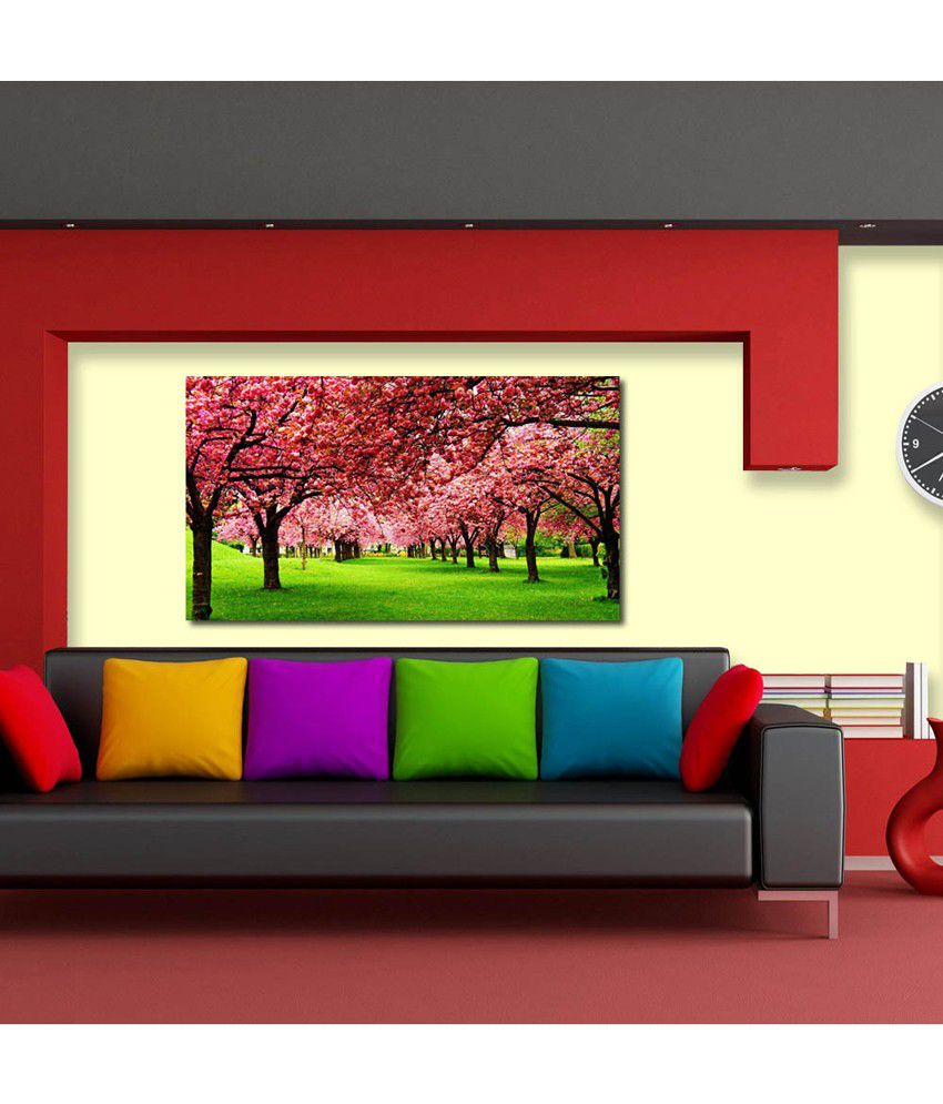 999Store Pink Trees Printed Modern Wall Art Painting - Large Size