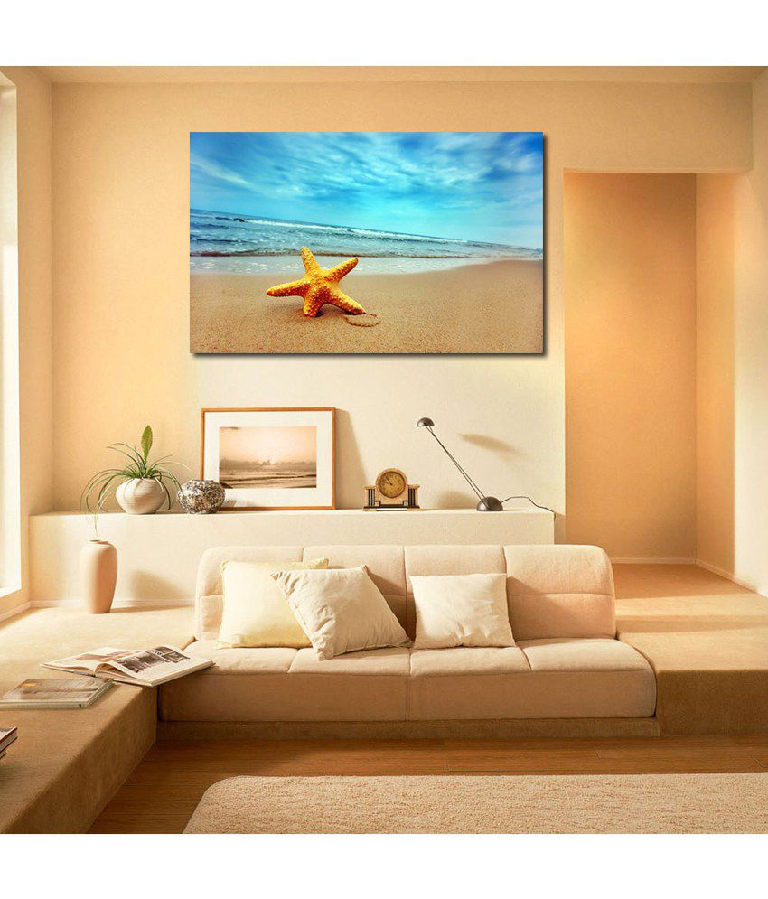 999Store Star At Sea Shore Printed Modern Wall Art Painting - Large Size
