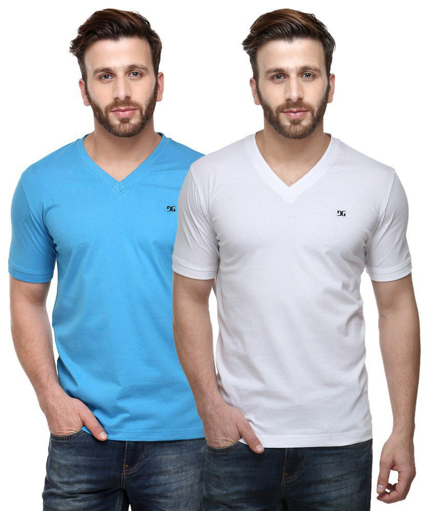 Dazzgear Combo of Regular Fit V-Neck T-Shirts - Blue & White