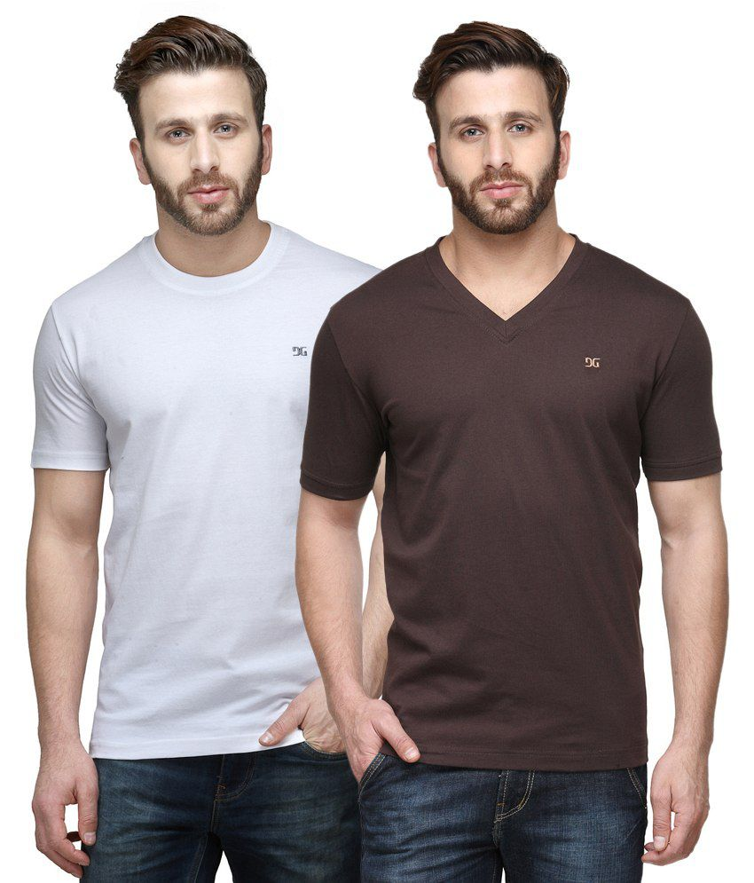 Dazzgear Combo of Regular Fit V-Neck and Round Neck T-Shirts - White & Brown