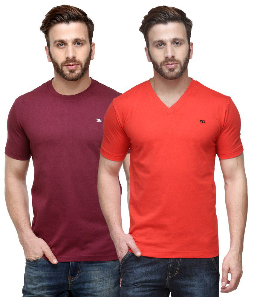 Dazzgear Combo of Regular Fit V-Neck and Round Neck T-Shirts - Maroon & Red
