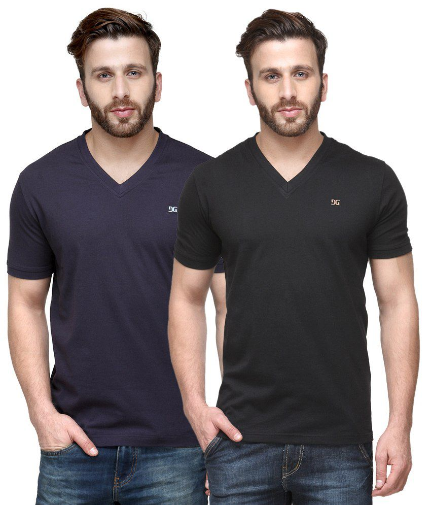 Dazzgear Combo of Regular Fit V-Neck T-Shirts - Purple & Black