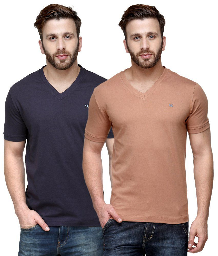 Dazzgear Combo of Regular Fit V-Neck T-Shirts - Purple & Brown