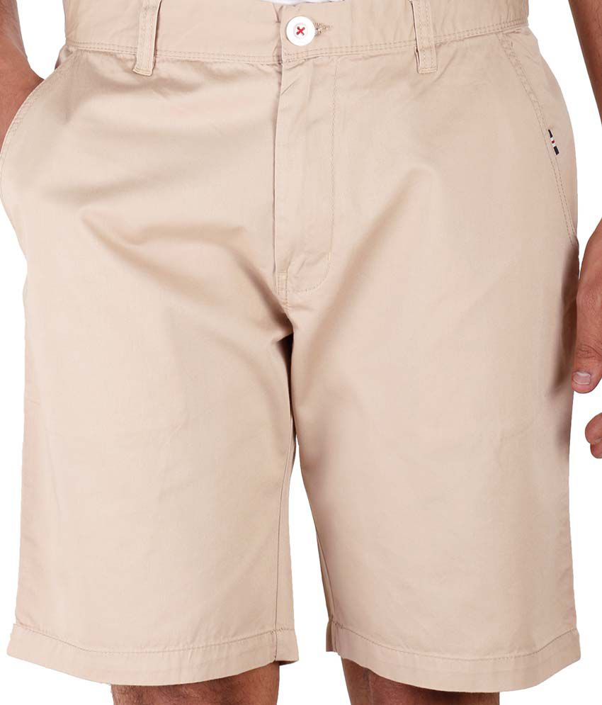 Faraday Beige Cotton Solids Short For Men