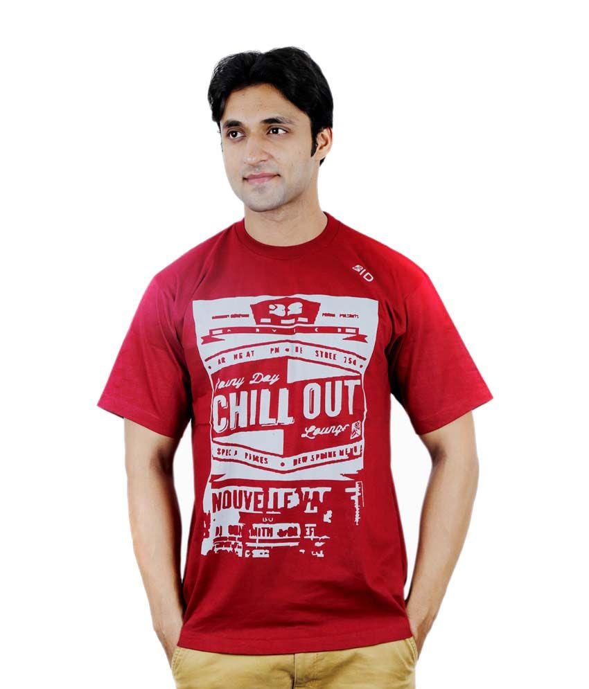 InkDice Maroon Cotton Printed Round Neck T-Shirt