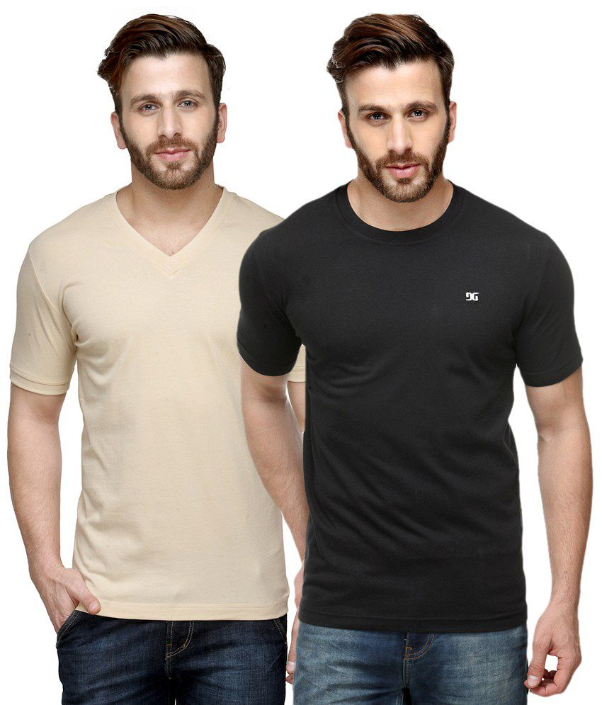 Dazzgear Combo of Beige & Black Round Neck T-Shirt and V Neck T-Shirt