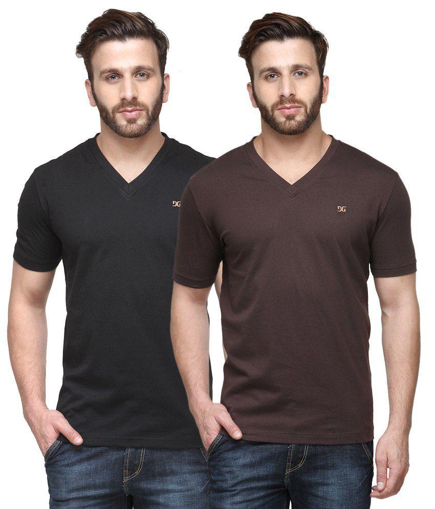 Dazzgear Combo of Regular Fit V-Neck T-Shirts - Black & Brown