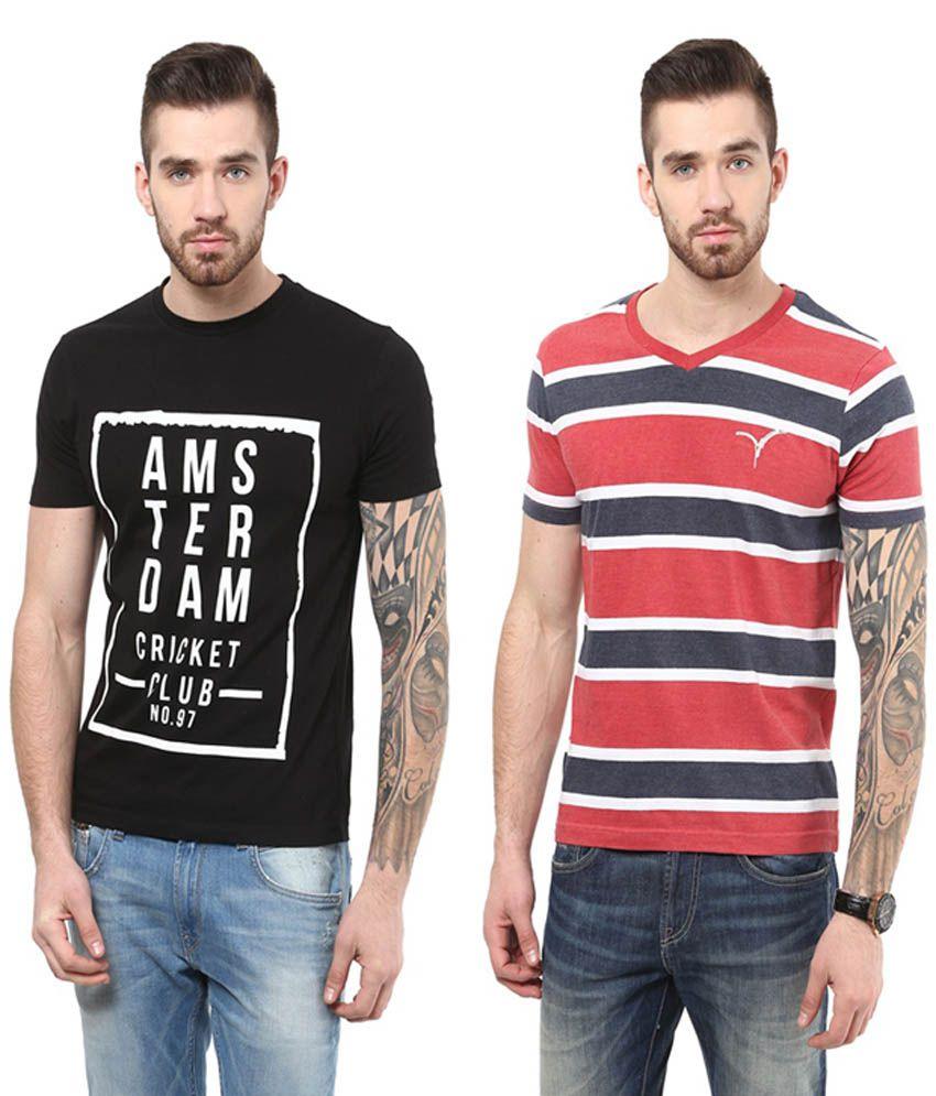 Monteil & Munero Black Round Neck & Red V-Neck T-Shirt (Pack of 2)