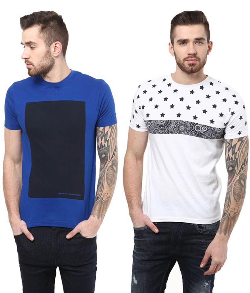Monteil & Munero White and Blue Cotton Round Neck T-Shirt (Pack of 2)