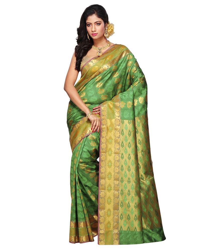 Utsav Fashion Green Shot Tone Pure Handloom Kollam Silk Saree with Blouse