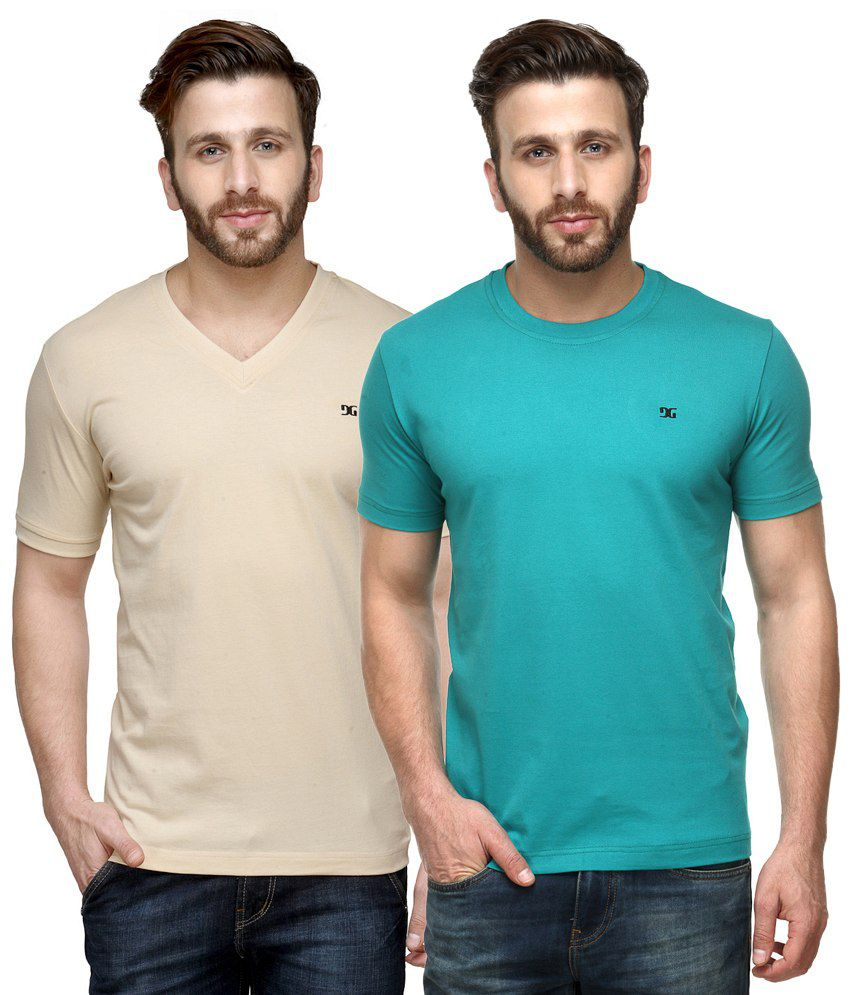 Dazzgear Combo of Beige & Blue Round Neck T-Shirt and V Neck T-Shirt