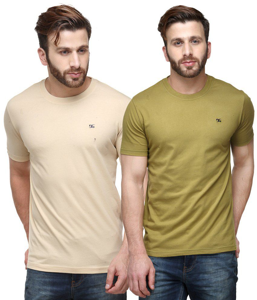 Dazzgear Combo of Beige & Green Round Neck T-Shirts