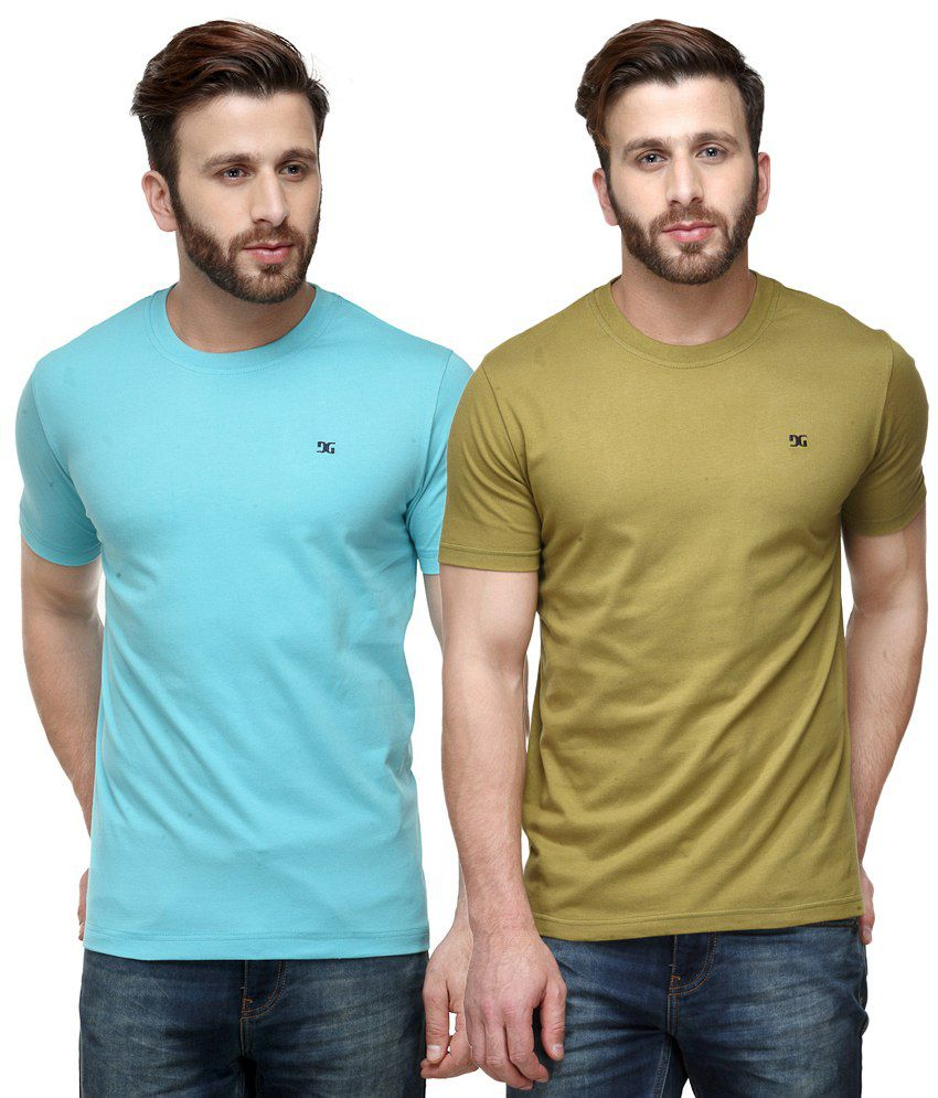Dazzgear Combo of Blue & Green Round Neck T-Shirts