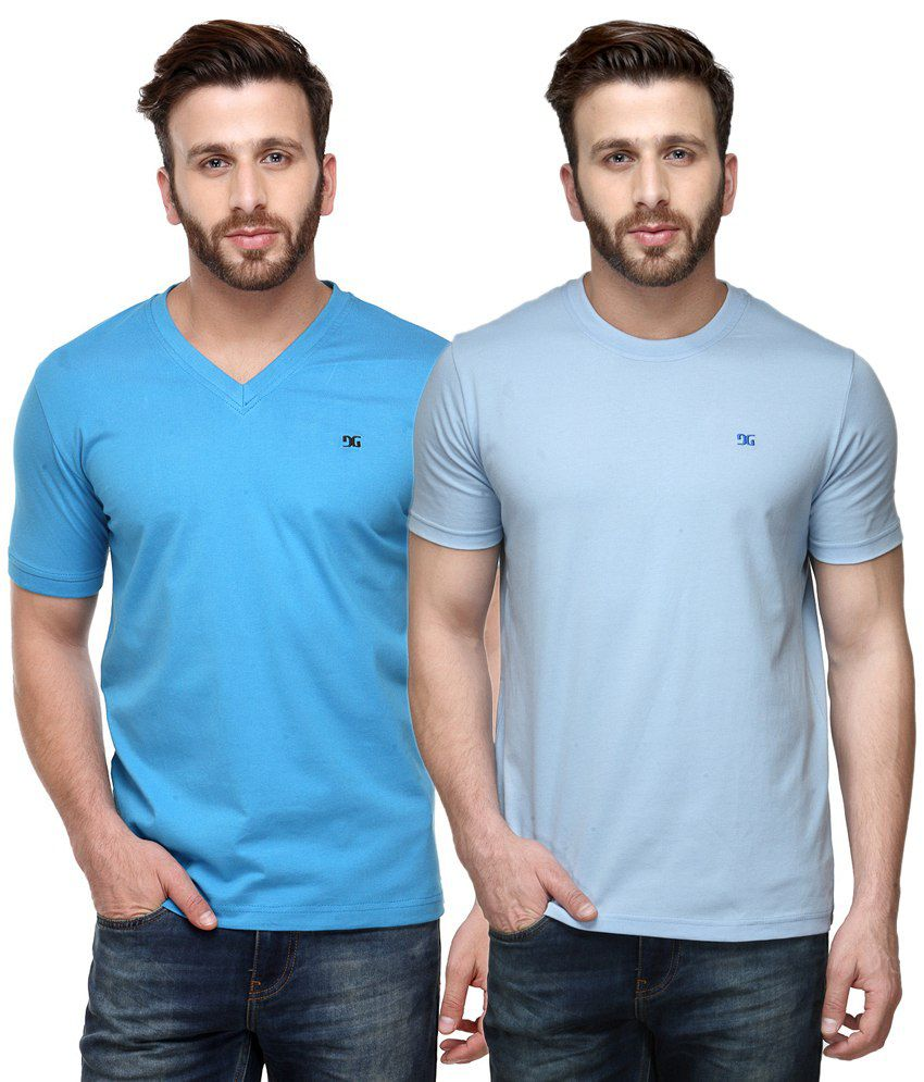 Dazzgear Combo of Blue Round Neck T-Shirt and V Neck T-Shirt