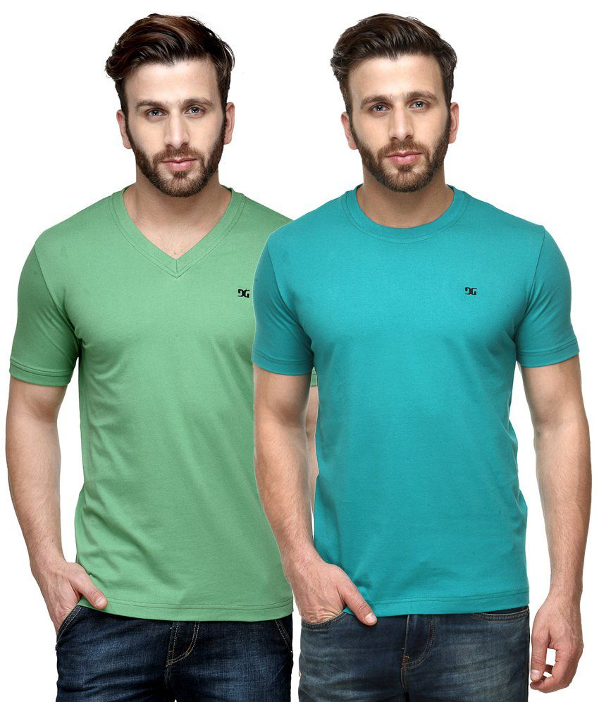 Dazzgear Combo of Green & Blue Round Neck T-Shirt and V Neck T-Shirt