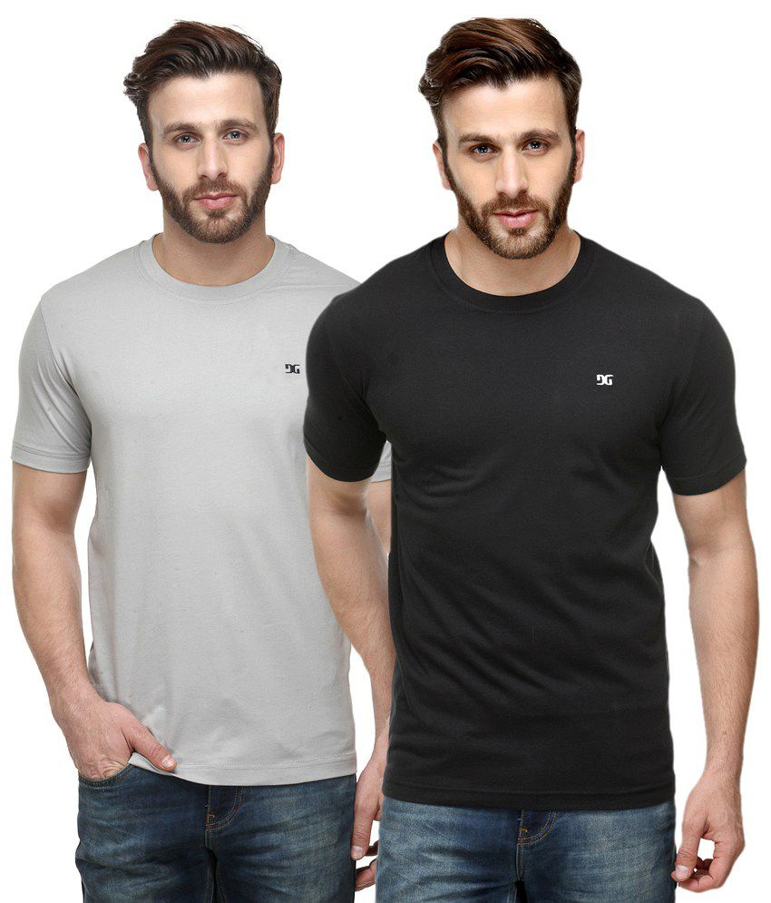 Dazzgear Combo of White & Black Round Neck T-Shirts