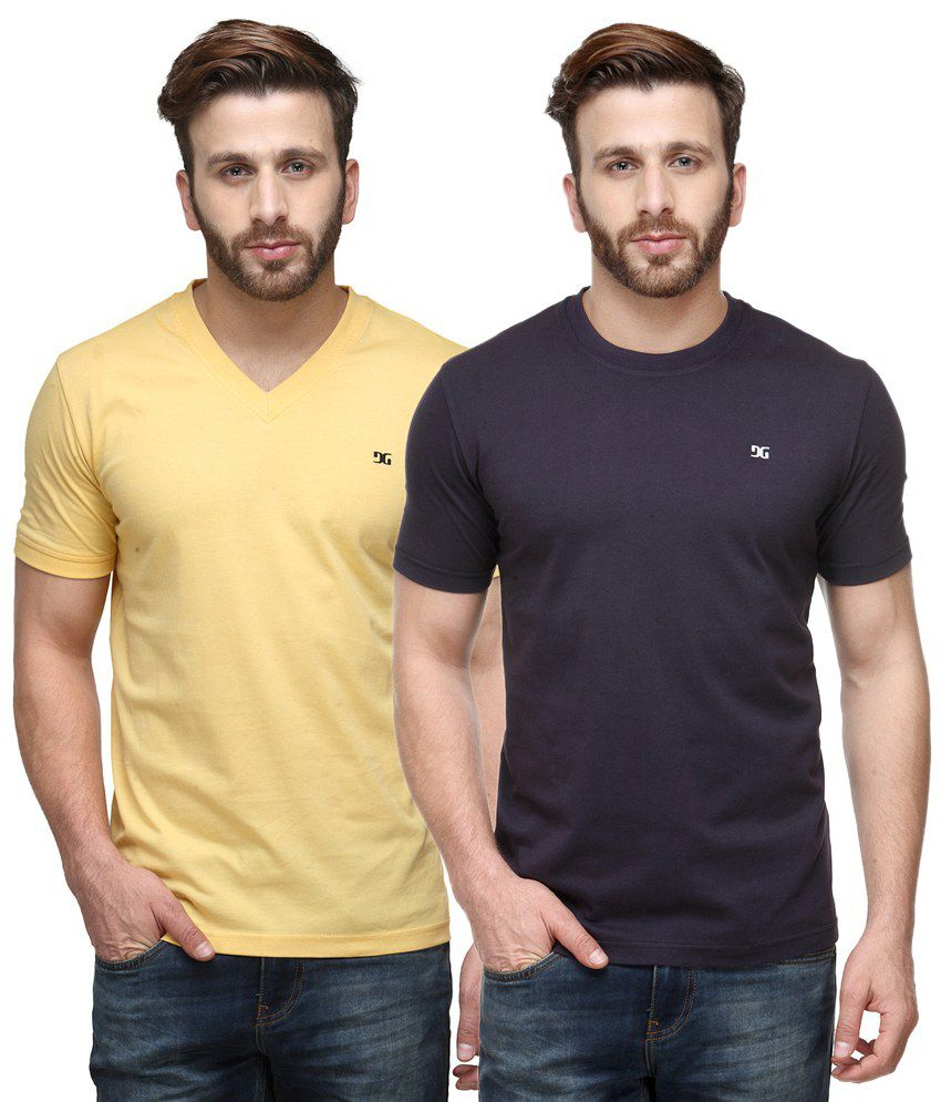 Dazzgear Combo of Yellow & Purple Round Neck T-Shirt and V Neck T-Shirt