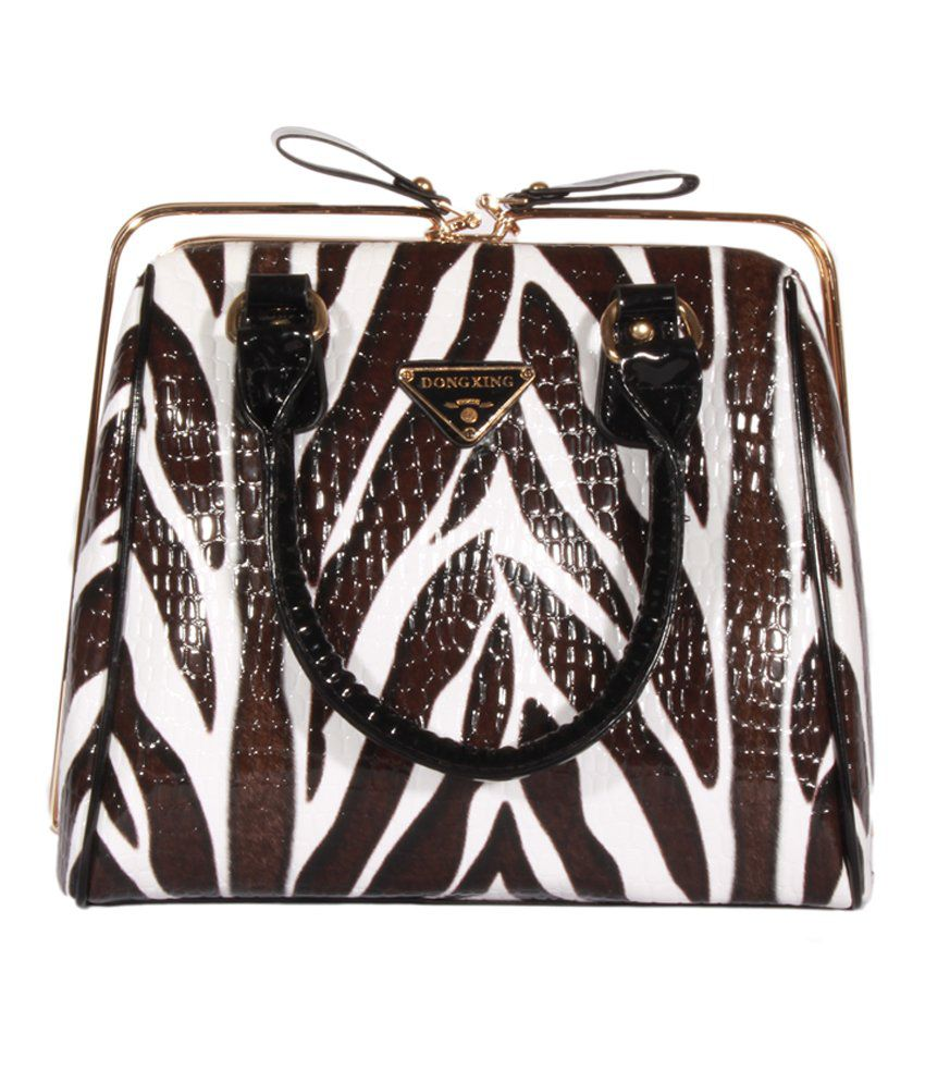 Heaven Deal Multi Leather Zebra Striped Hand-Held Bag