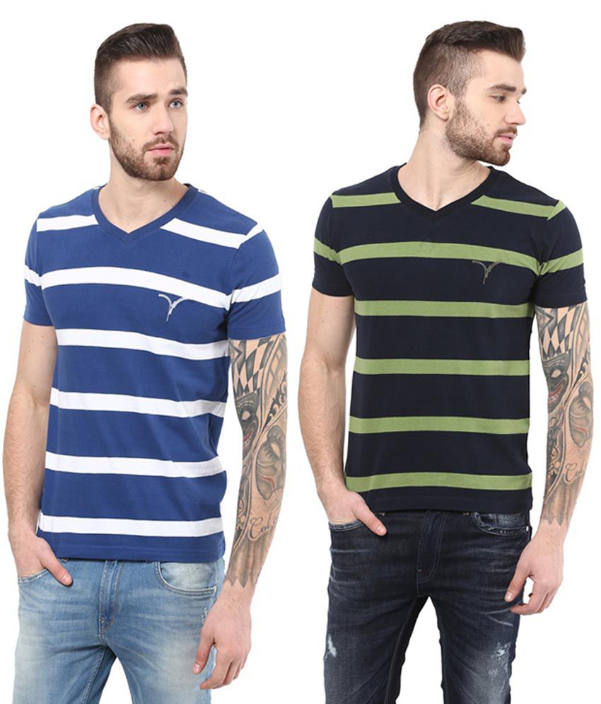 Monteil & Munero Blue & Green Cotton V-Neck T-Shirts (Pack of 2)