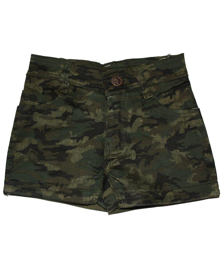 Muahhh Camouflaged Denim Shorts For Kids