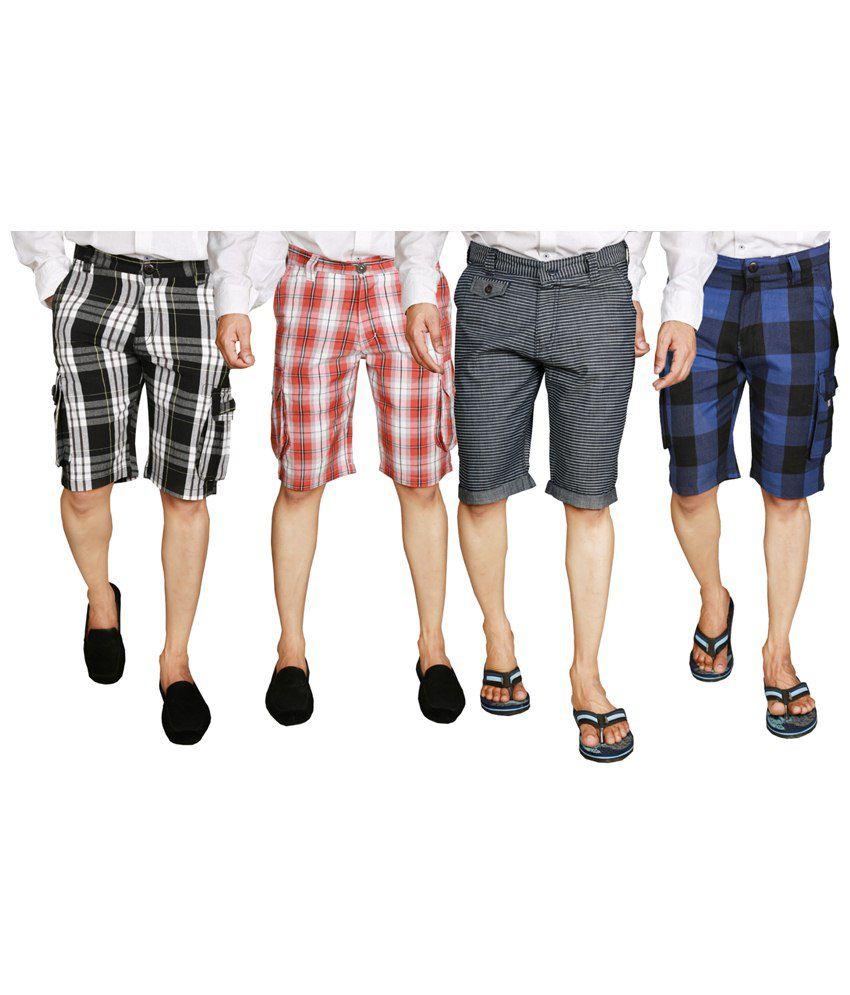 S.A. True Fashion Classy Multicolour Combo Of 4 Shorts For Men