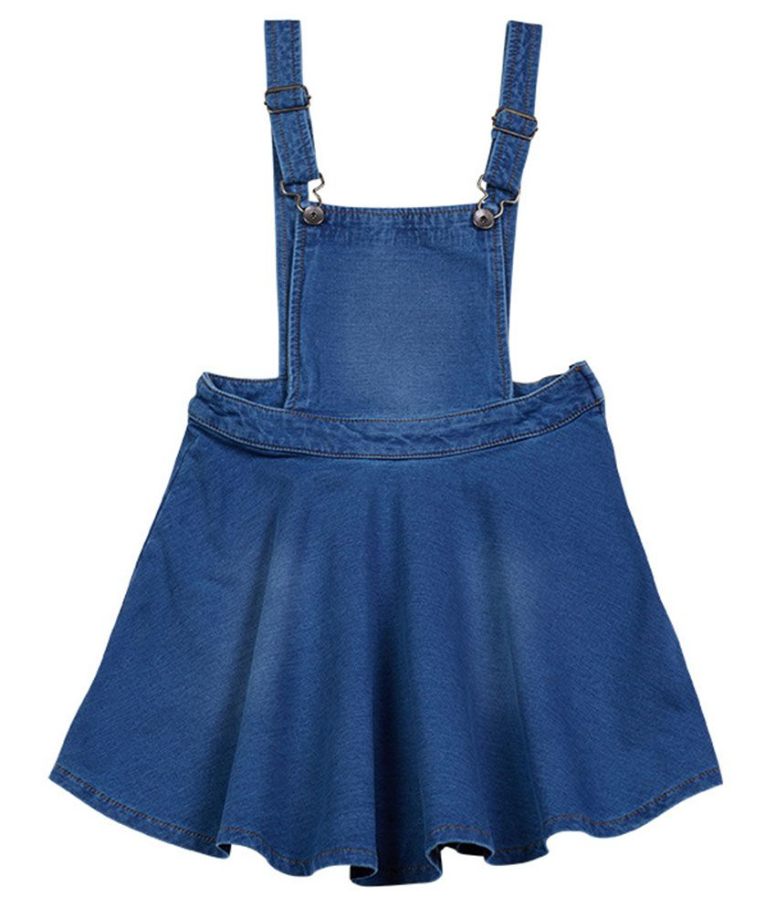 UCB  Blue Solid Dungaree For Kids