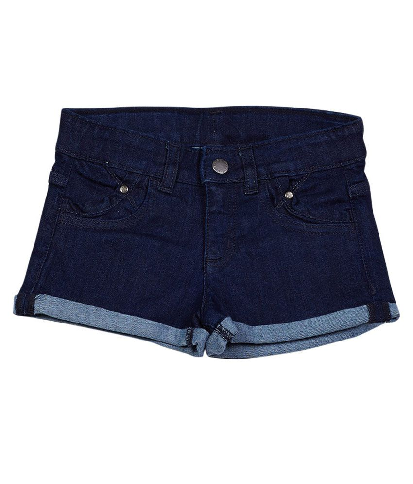 UCB  Blue Solid Shorts For Kids