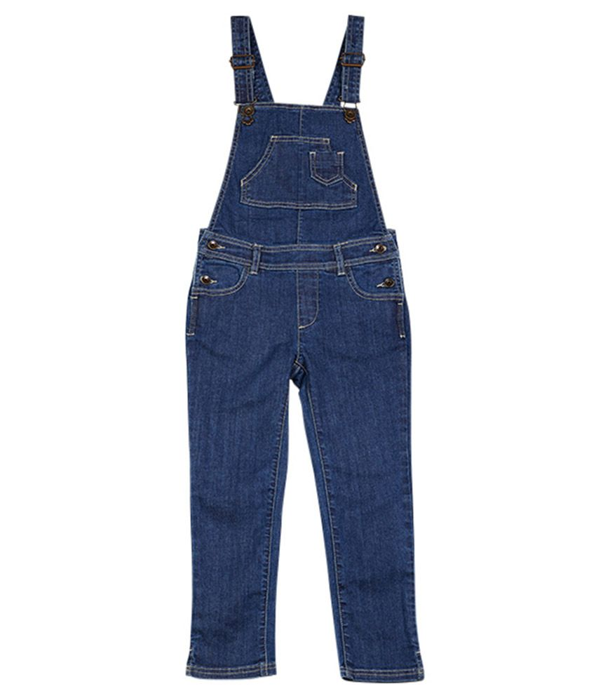 UCB Sleeveless Blue Solid Dungaree For Kids