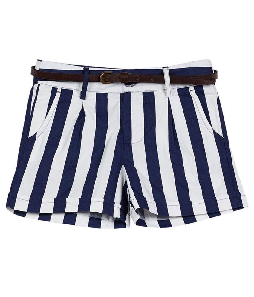 UCB  White/Navy Stripe Shorts For Kids
