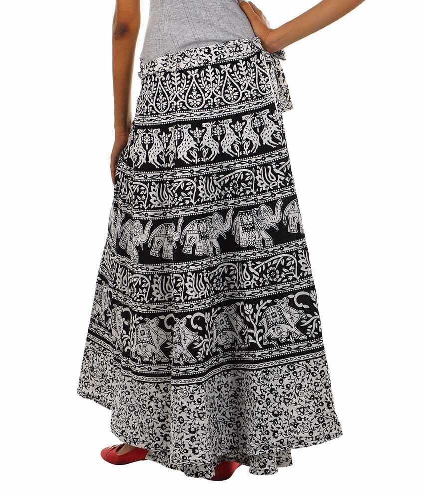 Buy Fashiana Women Black & White Treditional Print Long Wrap ...