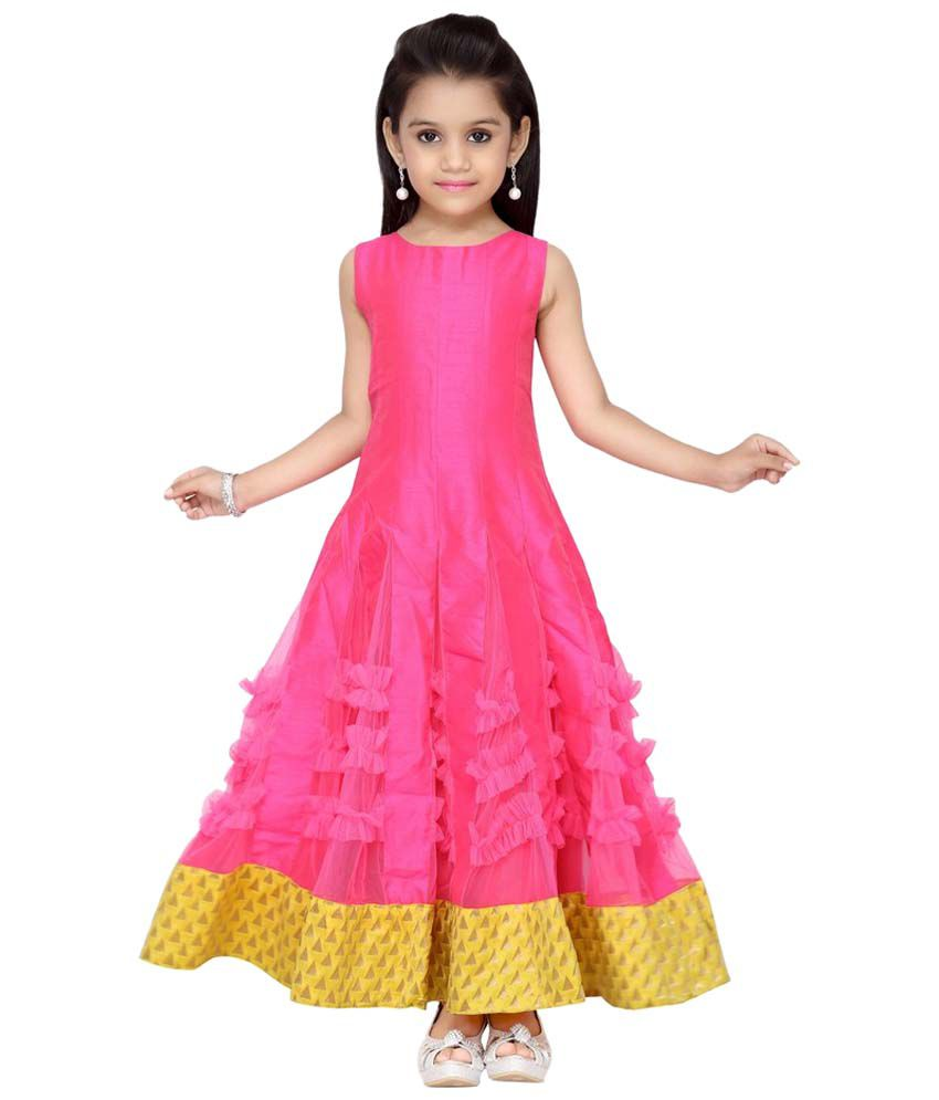 K U Pink   Yellow Long Indo Western Gown For Girls - Buy K U Pink   Yellow  Long Indo Western Gown For Girls Online at Low Price - Snapdeal 225be54f8